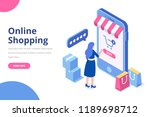 young woman buying things... | Shutterstock .eps vector #1189698712