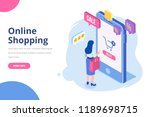 young woman buying things... | Shutterstock .eps vector #1189698715