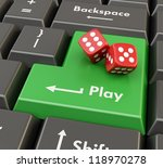 two 3d red game dices on green... | Shutterstock . vector #118970278