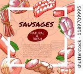 sausages and salami poster with ... | Shutterstock .eps vector #1189709995