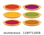 vector jam pie set. fruit tart... | Shutterstock .eps vector #1189711858