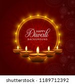 happy diwali diya oil lamp... | Shutterstock .eps vector #1189712392