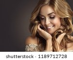 brunette  woman with long  and  ... | Shutterstock . vector #1189712728