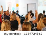 participants of the conference... | Shutterstock . vector #1189724962