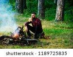 handsome macho with beer... | Shutterstock . vector #1189725835