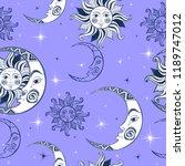 seamless pattern. sun moon and... | Shutterstock .eps vector #1189747012