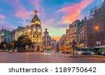 madrid city skyline gran via... | Shutterstock . vector #1189750642