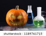 scary halloween pumpkin with... | Shutterstock . vector #1189761715
