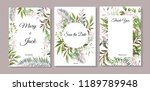 set of cards with green leaves. ... | Shutterstock .eps vector #1189789948