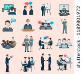 conference icons flat | Shutterstock .eps vector #1189801972