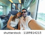 happy couple travelling take... | Shutterstock . vector #1189814215