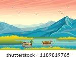 vector autumn landscape. nature ...   Shutterstock . vector #1189819765