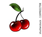 cherry in old school tattoo...   Shutterstock .eps vector #1189822708