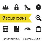 mixed icons set with crown ...