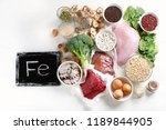 iron rich foods. healthy eating ... | Shutterstock . vector #1189844905