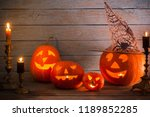 halloween pumpkins on wooden... | Shutterstock . vector #1189852285