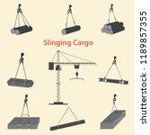 construction crane for slinging ... | Shutterstock .eps vector #1189857355