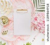 blank paper clipboard  pink... | Shutterstock . vector #1189864918