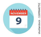november 9   calendar icon  ... | Shutterstock .eps vector #1189868752