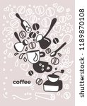 vector design of coffee card.... | Shutterstock .eps vector #1189870108