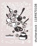 vector design of coffee card.... | Shutterstock .eps vector #1189870108