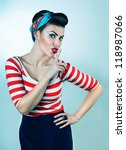 funny pin up woman says quiet | Shutterstock . vector #118987066
