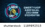 glowing neon labor day sign in... | Shutterstock .eps vector #1189892515