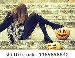 young halloween woman or girl... | Shutterstock . vector #1189898842