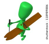 Over view green puppet with skis on shoulder - stock photo