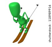 Angle view green puppet glide with great speed - stock photo