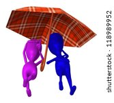Front view puppets rest under umbrella on beach - stock photo