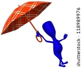 Angle view puppet step over puddle under umbrella - stock photo