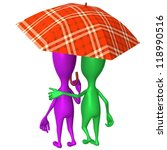 Behind view puppets walking in park under umbrella - stock photo
