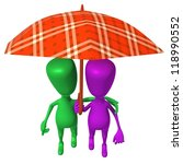 Over view puppets walking in park under umbrella - stock photo