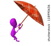 Side view puppet hold umbrella from fly away - stock photo