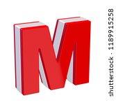 red glossy alphabet letter m on ... | Shutterstock . vector #1189915258