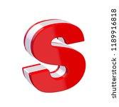 red glossy alphabet letter s on ... | Shutterstock . vector #1189916818