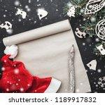 santa's working table. letter... | Shutterstock . vector #1189917832