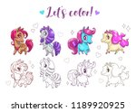 let's color pony. funny cute... | Shutterstock .eps vector #1189920925