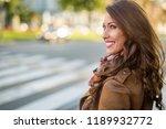 beautiful young woman smiling... | Shutterstock . vector #1189932772