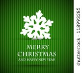 Green Snowflake Christmas Card. ...
