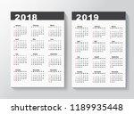 calendar template for 2018 and... | Shutterstock .eps vector #1189935448