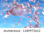 flying euro banknotes against...   Shutterstock . vector #1189972612
