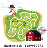 fun farm maze concept... | Shutterstock .eps vector #1189997392