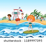 people at the beach illustration | Shutterstock .eps vector #1189997395