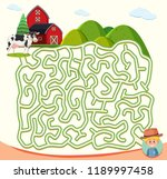 farm maze puzzle concept... | Shutterstock .eps vector #1189997458