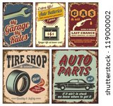 vintage car service metal signs ... | Shutterstock .eps vector #119000002