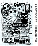 halloween party invitation card ... | Shutterstock .eps vector #1190010955