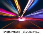 blurred motion lighting speed... | Shutterstock . vector #1190036962