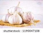 garlic cloves and garlic bulb... | Shutterstock . vector #1190047108